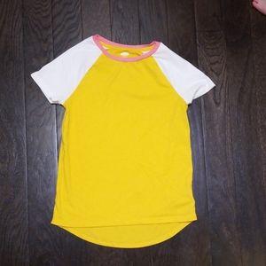 Old Navy T Shirt Yellow Pink White Girls L 10/12